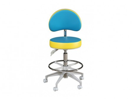 Murray HADV-GN Advance Round Stool with Backrest, Adjustable High Cylinder and Foot Ring